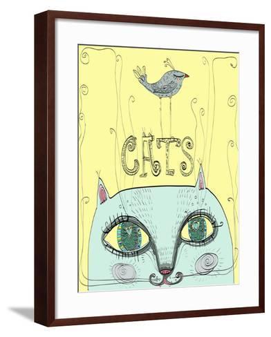 Funny Cat's Head with a Bird-Elena Barenbaum-Framed Art Print