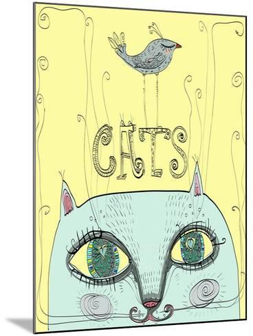 Funny Cat's Head with a Bird-Elena Barenbaum-Mounted Art Print