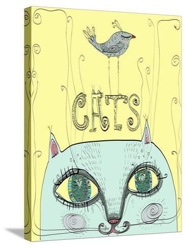 Funny Cat's Head with a Bird-Elena Barenbaum-Stretched Canvas Print