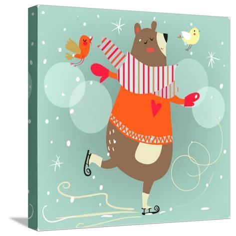 Winter Cartoon Bear-Elena Barenbaum-Stretched Canvas Print