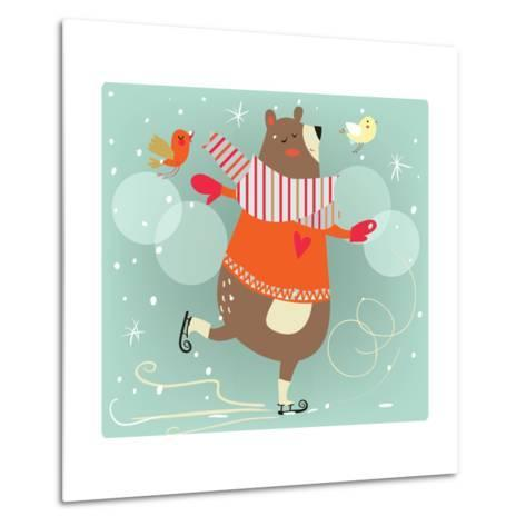 Winter Cartoon Bear-Elena Barenbaum-Metal Print