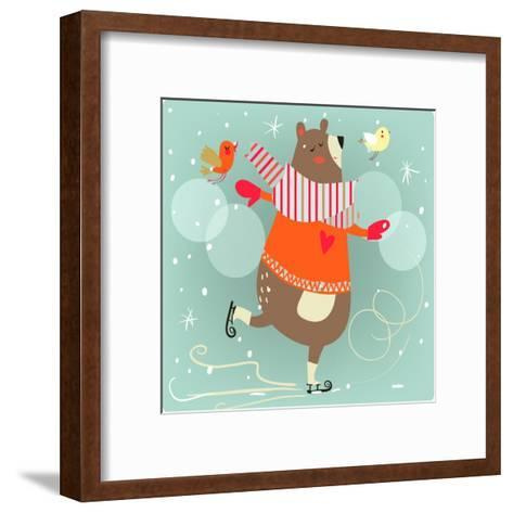 Winter Cartoon Bear-Elena Barenbaum-Framed Art Print