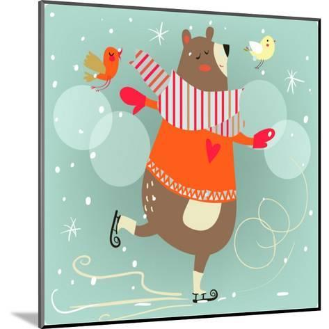 Winter Cartoon Bear-Elena Barenbaum-Mounted Art Print