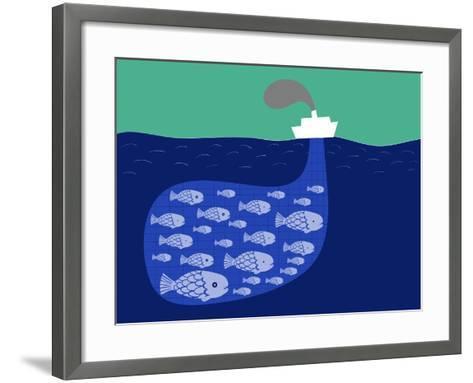 Shoal of Fish in the Boat Fishnet-Complot-Framed Art Print