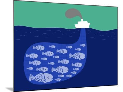 Shoal of Fish in the Boat Fishnet-Complot-Mounted Art Print