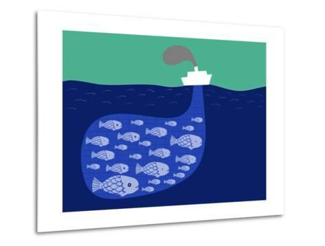 Shoal of Fish in the Boat Fishnet-Complot-Metal Print