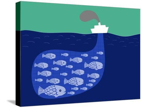 Shoal of Fish in the Boat Fishnet-Complot-Stretched Canvas Print