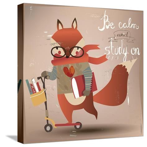 Cartoon Fox with Books-Elena Barenbaum-Stretched Canvas Print