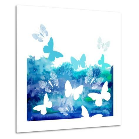 Watercolor Blue Background with Butterflies. Vector-Ihnatovich Maryia-Metal Print
