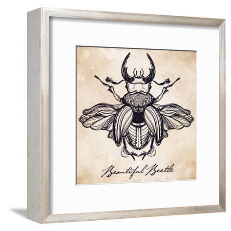 Beautiful Hand Drawn Antique Stag Beetle,The Largest Insect. Vintage Style Tattoo Vector Art. Engra-Katja Gerasimova-Framed Art Print