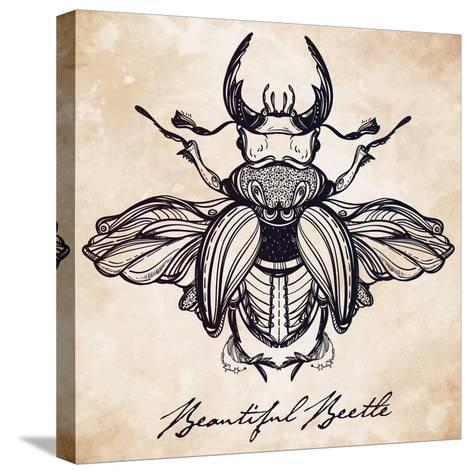 Beautiful Hand Drawn Antique Stag Beetle,The Largest Insect. Vintage Style Tattoo Vector Art. Engra-Katja Gerasimova-Stretched Canvas Print