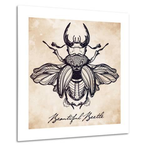 Beautiful Hand Drawn Antique Stag Beetle,The Largest Insect. Vintage Style Tattoo Vector Art. Engra-Katja Gerasimova-Metal Print