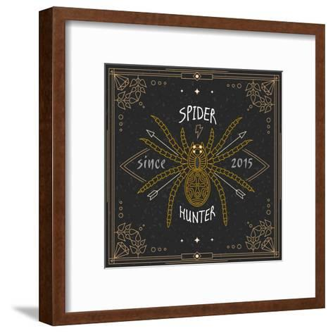Stylish Thin Line Spider Label. Vintage Design Vector Illustration, Logo, Badge, Emblem, Insignia,-karnoff-Framed Art Print