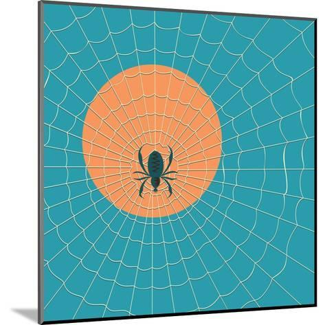 Spider in a Web on a Background of the Setting Sun- Zhukov-Mounted Art Print