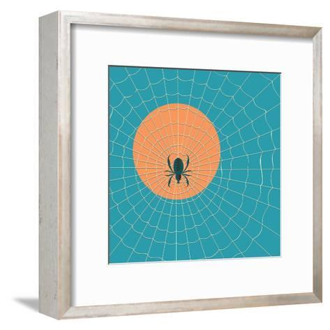 Spider in a Web on a Background of the Setting Sun- Zhukov-Framed Art Print