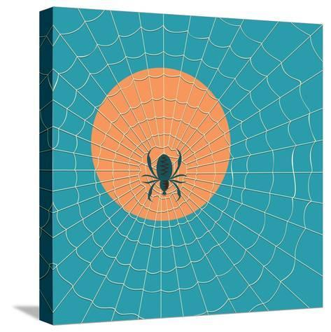 Spider in a Web on a Background of the Setting Sun- Zhukov-Stretched Canvas Print