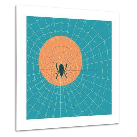 Spider in a Web on a Background of the Setting Sun- Zhukov-Metal Print