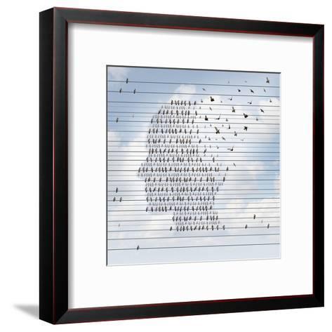 Alzheimer Disease Concept as a Medical Mental Health Care Idea as a Group of Birds on an Electrical- Lightspring-Framed Art Print