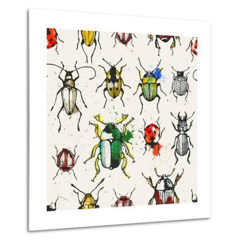 Watercolor Beetles-EV-DA-Metal Print