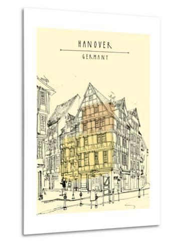 View of Old Center in Hanover, Germany, Europe. Historical Building Line Art. Freehand Drawing With-babayuka-Metal Print
