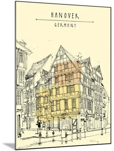 View of Old Center in Hanover, Germany, Europe. Historical Building Line Art. Freehand Drawing With-babayuka-Mounted Art Print