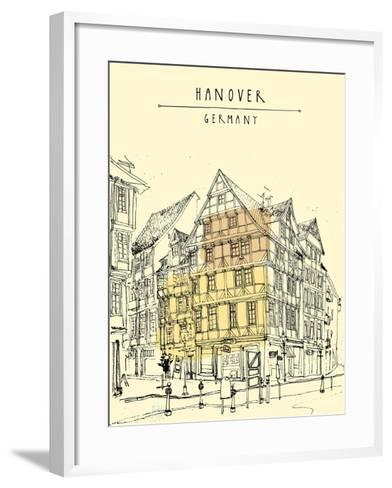 View of Old Center in Hanover, Germany, Europe. Historical Building Line Art. Freehand Drawing With-babayuka-Framed Art Print