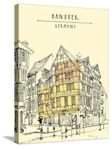 View of Old Center in Hanover, Germany, Europe. Historical Building Line Art. Freehand Drawing With-babayuka-Stretched Canvas Print