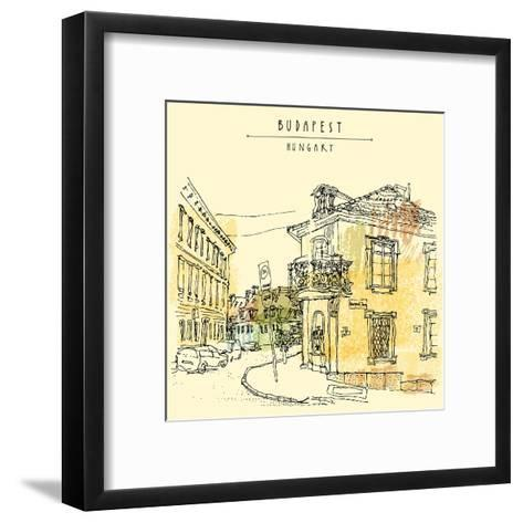 Street Corner in Budapest City, Hungary, Eastern Europe. Colored Architecture Drawing. Travel Sketc-babayuka-Framed Art Print