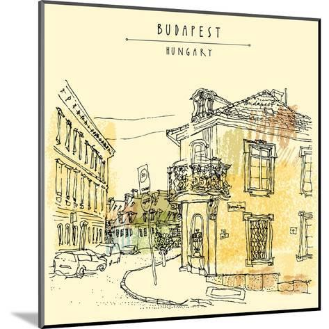 Street Corner in Budapest City, Hungary, Eastern Europe. Colored Architecture Drawing. Travel Sketc-babayuka-Mounted Art Print