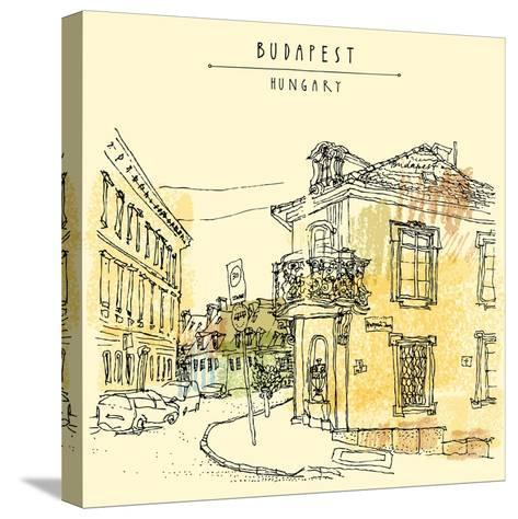 Street Corner in Budapest City, Hungary, Eastern Europe. Colored Architecture Drawing. Travel Sketc-babayuka-Stretched Canvas Print