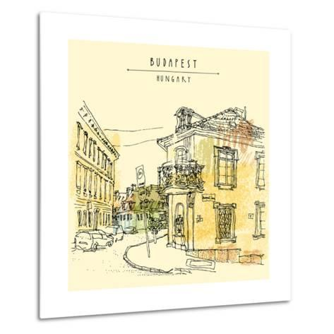 Street Corner in Budapest City, Hungary, Eastern Europe. Colored Architecture Drawing. Travel Sketc-babayuka-Metal Print