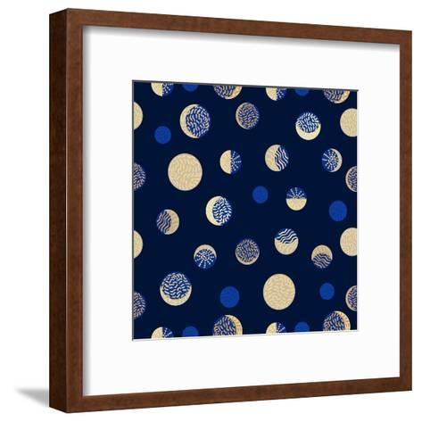 Moon Phases. Crescent Growth. Abstract Seamless Vector Pattern. 1950S Style, Geometric Motifs, Hand-Svetlana Kononova-Framed Art Print