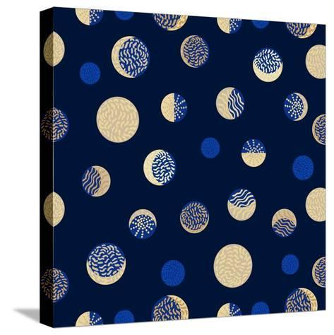 Moon Phases. Crescent Growth. Abstract Seamless Vector Pattern. 1950S Style, Geometric Motifs, Hand-Svetlana Kononova-Stretched Canvas Print