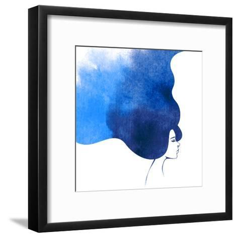 Watercolor Fashion Woman with Long Hair. Vector Illustration. Beautiful Mermaid Face. Girl Silhouet-kotoffei-Framed Art Print