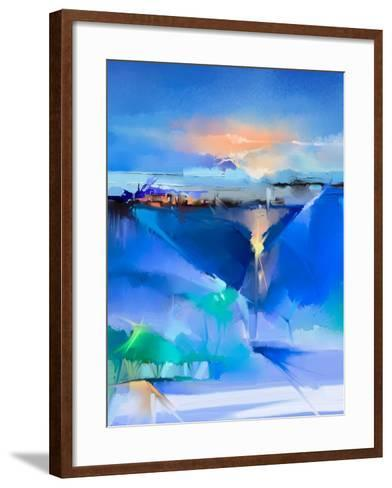 Abstract Colorful Oil Painting Landscape on Canvas. Semi- Abstract Image of Tree, Hill and Green, B-pluie_r-Framed Art Print