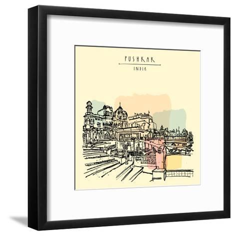 Pushkar, Rajasthan, India. Brahma Ghat. Colored Vintage Touristic Postcard, Poster Template, Calend-babayuka-Framed Art Print