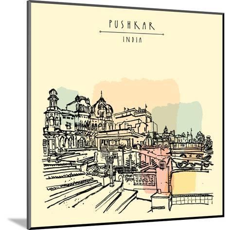Pushkar, Rajasthan, India. Brahma Ghat. Colored Vintage Touristic Postcard, Poster Template, Calend-babayuka-Mounted Art Print