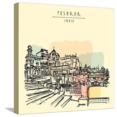 Pushkar, Rajasthan, India. Brahma Ghat. Colored Vintage Touristic Postcard, Poster Template, Calend-babayuka-Stretched Canvas Print