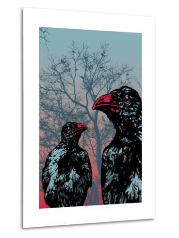 Vector Grunge Background Vith Ravens.-jumpingsack-Metal Print