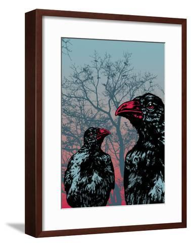 Vector Grunge Background Vith Ravens.-jumpingsack-Framed Art Print