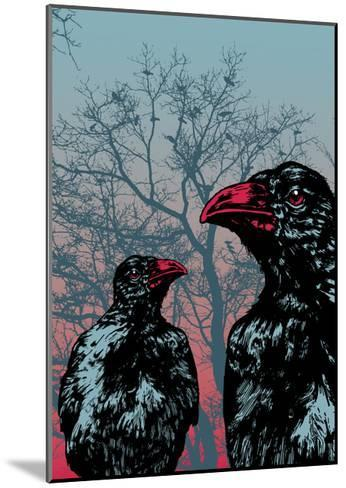 Vector Grunge Background Vith Ravens.-jumpingsack-Mounted Art Print