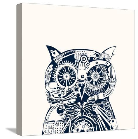 Robotic Owl Head.-RYGER-Stretched Canvas Print
