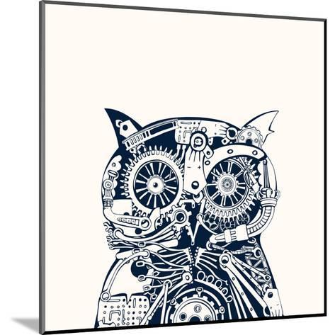 Robotic Owl Head.-RYGER-Mounted Art Print
