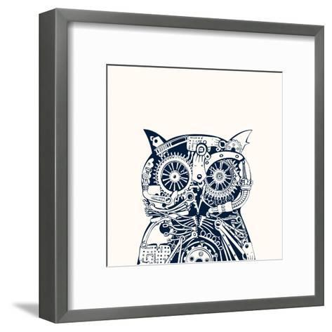 Robotic Owl Head.-RYGER-Framed Art Print