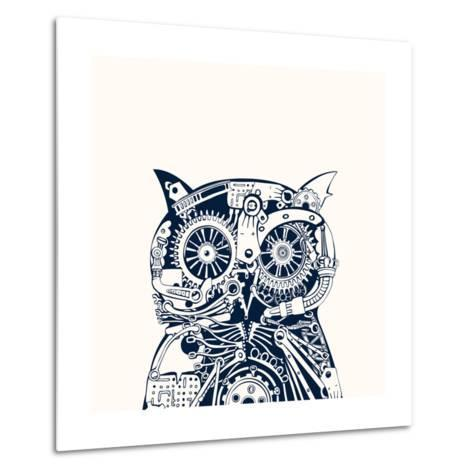 Robotic Owl Head.-RYGER-Metal Print