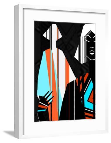 Artistic Fashion Colorful Illustration with Stripes-Alina Shakhovets-Framed Art Print