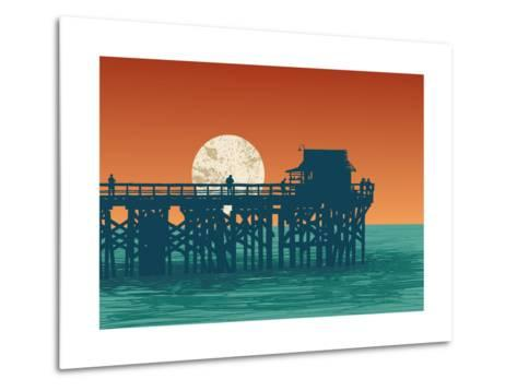 Oceanic View with Silhouette Pier and Full Moon. Vector Illustration.-jumpingsack-Metal Print