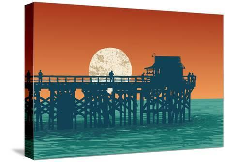 Oceanic View with Silhouette Pier and Full Moon. Vector Illustration.-jumpingsack-Stretched Canvas Print