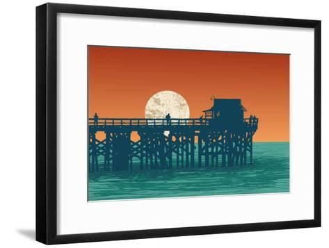 Oceanic View with Silhouette Pier and Full Moon. Vector Illustration.-jumpingsack-Framed Art Print
