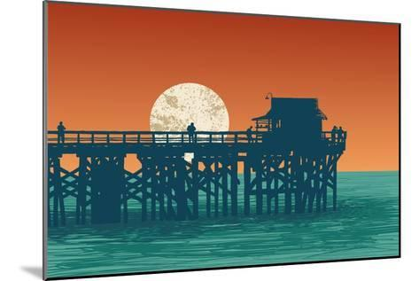 Oceanic View with Silhouette Pier and Full Moon. Vector Illustration.-jumpingsack-Mounted Art Print